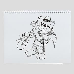 Catoons Saxophone Cat Wall Calendar