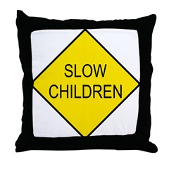 Slow Children Sign - Throw Pillow