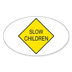 Slow Children Sign - Oval Decal