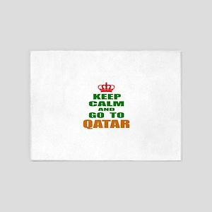 Keep Calm And Go To Qatar Country 5'x7'Area Rug