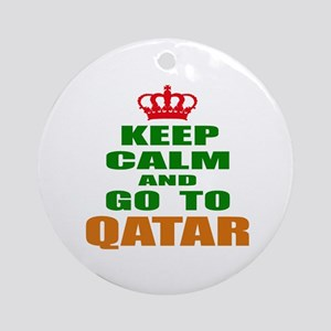 Keep Calm And Go To Qatar Country Round Ornament