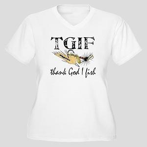 TGIF Fishing Women's Plus Size V-Neck T-Shirt