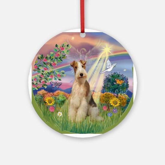 Cloud Angel Wire Fox Terrier Keepsake (Round)