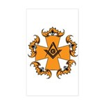 Masonic Bats and Maltese Cross Rectangle Sticker
