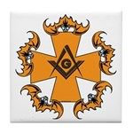 Masonic Bats and Maltese Cross Tile Coaster