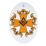Masonic Bats and Maltese Cross Oval Ornament