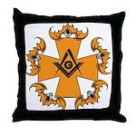 Masonic Bats and Maltese Cross Throw Pillow
