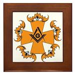 Masonic Bats and Maltese Cross Framed Tile