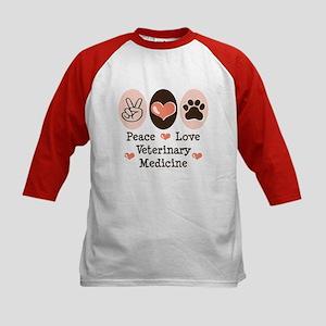Peace Love Veterinary Medicine Kids Baseball Jerse