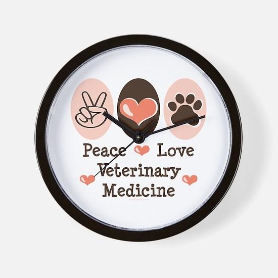 Peace Love Veterinary Medicine Wall Clock