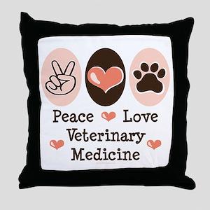 Peace Love Veterinary Medicine Throw Pillow