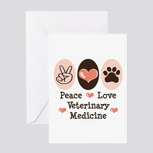 Peace Love Veterinary Medicine Greeting Card