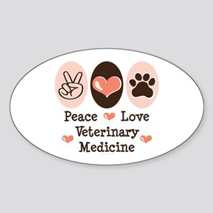 Peace Love Veterinary Medicine Oval Sticker