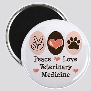 Peace Love Veterinary Medicine Magnet