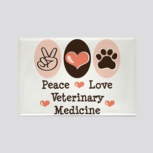 Peace Love Veterinary Medicine Rectangle Magnet