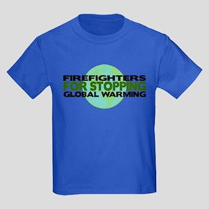 Firefighters Stop Global Warming Kids Dark T-Shirt