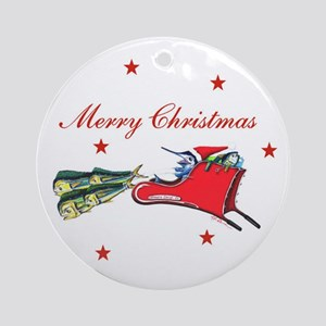 Christmas Fish Sleigh Ornament (Round)