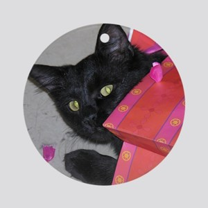 ready for christmas ornament round - Black Cat Christmas Ornament