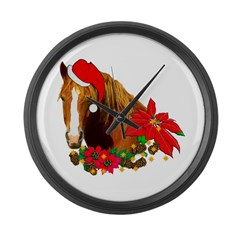 Christmas Horse Large Wall Clock