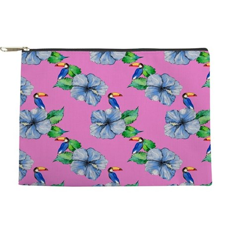 Hawaiian Blue Hibiscus, Toucan Makeup Bag