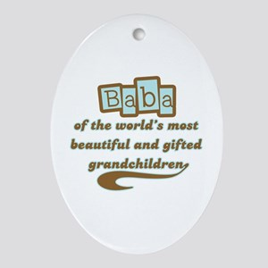 Baba of Gifted Grandchildren Oval Ornament