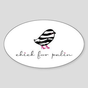 chick for palin (zebra print) Oval Sticker