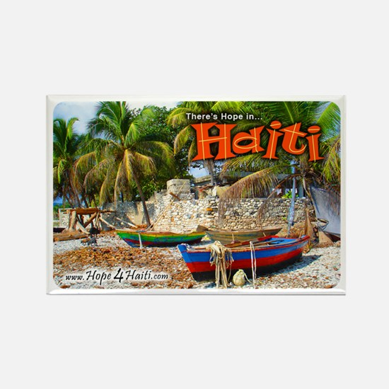 'Fishing Boats & Wall' Rectangle Magnet