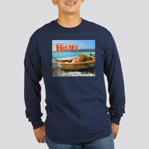 'Old Fishing Boat' Long Sleeve Dark T-Shirt