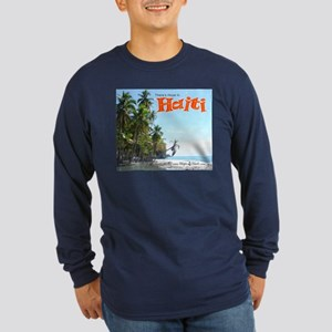 'Fishing Boats & Wall' Long Sleeve Dark T-Shirt
