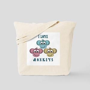I love Monkeys Retro Style Tote Bag