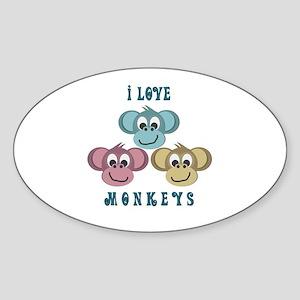 I love Monkeys Retro Style Oval Sticker