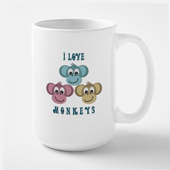 I love Monkeys Retro Style Large Mug