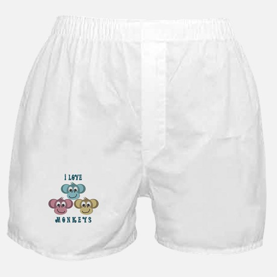 I love Monkeys Retro Style Boxer Shorts