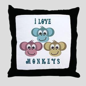 I love Monkeys Retro Style Throw Pillow