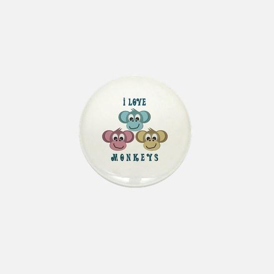 I love Monkeys Retro Style Mini Button