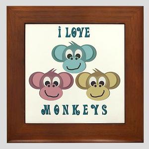 I love Monkeys Retro Style Framed Tile