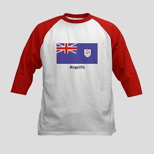 Anguilla Flag (Front) Kids Baseball Jersey