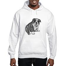 Bulldog Puppy Drawing Hooded Sweatshirt