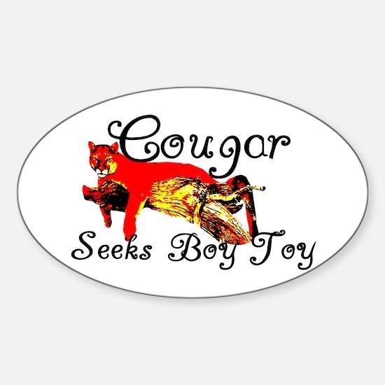 Cougar Seeks Boy Toy Oval Decal