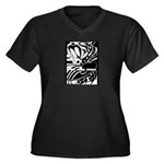 Abstract Women's Plus Size V-Neck Dark T-Shirt