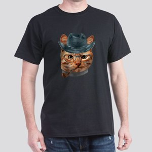 Cat Kitty Kitten In Clothes Glasses Cowboy T-Shirt