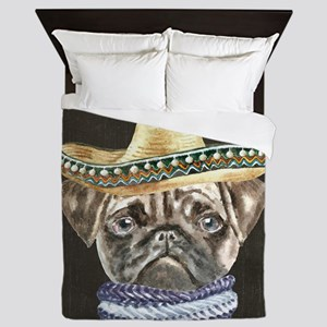 Pug Sombrero Hat Scarf Dogs In Clothes Queen Duvet