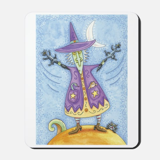 Funny Purple Witch Mousepad