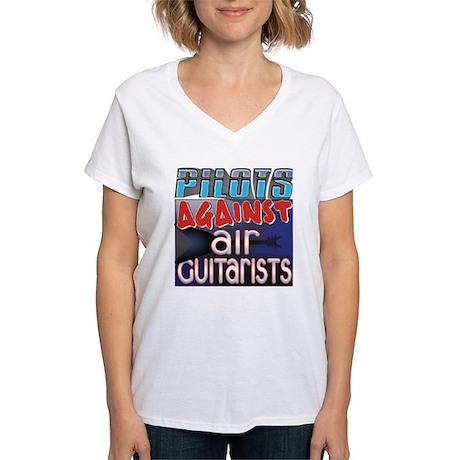 Pilots Against Air Guitarists Women's V-Neck T-Shi