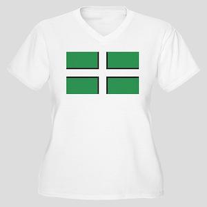 Devon Flag Women's Plus Size V-Neck T-Shirt