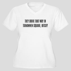 """Tiananmen Square"" Women's Plus Size V-Neck T-Shir"