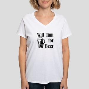Will Run for Beer Women's V-Neck T-Shirt