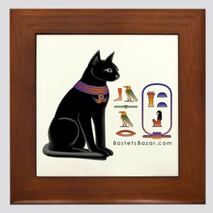 Cat Bastet & Egyptian Hieroglyphics Framed Til