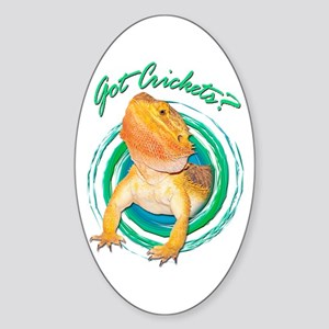 Bearded Dragon Got Crickets 4 Oval Sticker