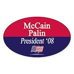 """McCain-Palin for President"" Oval Sticke"
